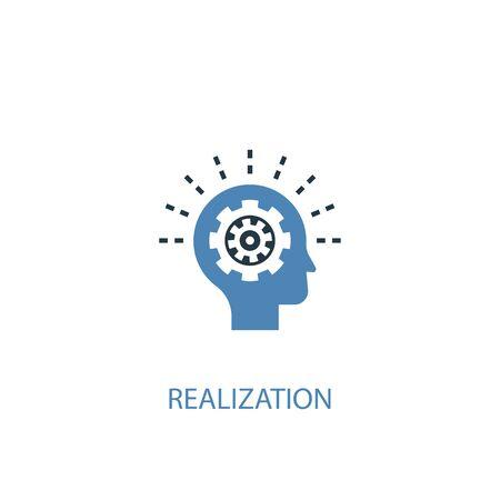 Realisierungskonzept 2 farbiges Symbol. Einfache blaue Elementillustration. Realisierung Konzept Symbol Design. Kann für Web und Mobile verwendet werden