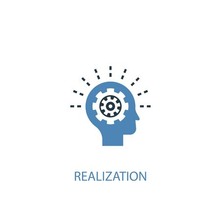 realization concept 2 colored icon. Simple blue element illustration. realization concept symbol design. Can be used for web and mobile 向量圖像