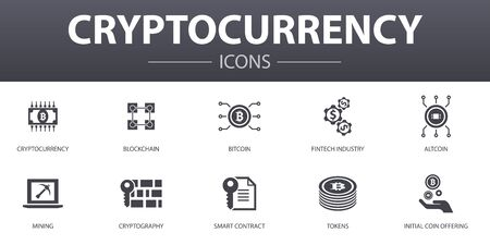Cryptocurrency simple concept icons set. Contains such icons as blockchain, fintech industry, Mining, Cryptography and more, can be used for web, logo Illusztráció