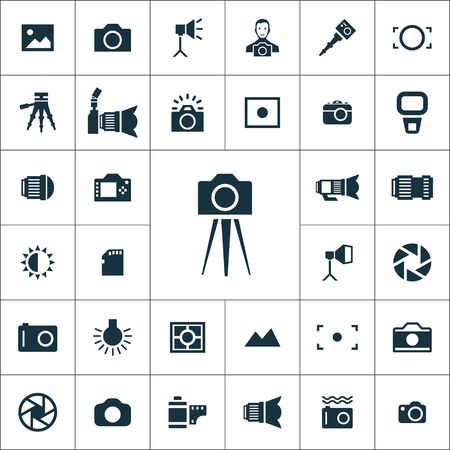 photography icons universal set for web and UI Illusztráció