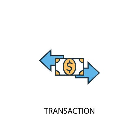 transaction concept 2 colored line icon. Simple yellow and blue element illustration. transaction concept outline symbol