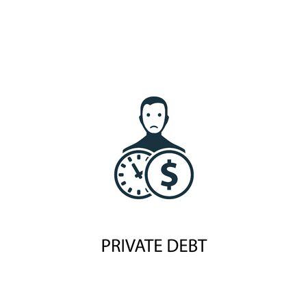 Icône de la dette privée. Illustration d'élément simple. Conception de symbole de concept de dette privée. Peut être utilisé pour le Web