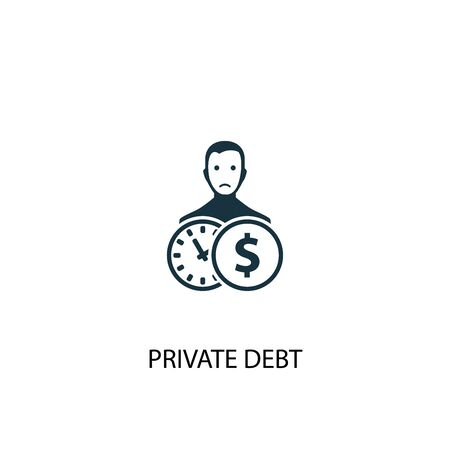 Private debt icon. Simple element illustration. Private debt concept symbol design. Can be used for web 일러스트