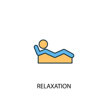 relaxation concept 2 colored line icon. Simple yellow and blue element illustration. relaxation concept outline symbol