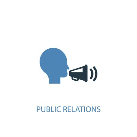 public relations concept 2 colored icon. Simple blue element illustration. public relations concept symbol design. Can be used for web and mobile Illustration