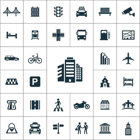 city icons universal set for web and UI