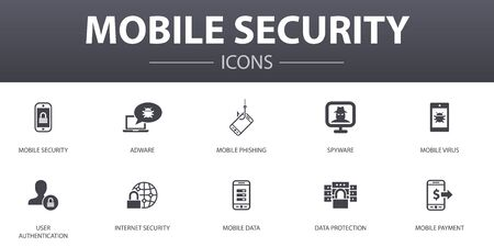 mobile security simple concept icons set. Contains such icons as mobile phishing, spyware, internet security, data protection and more, can be used for web