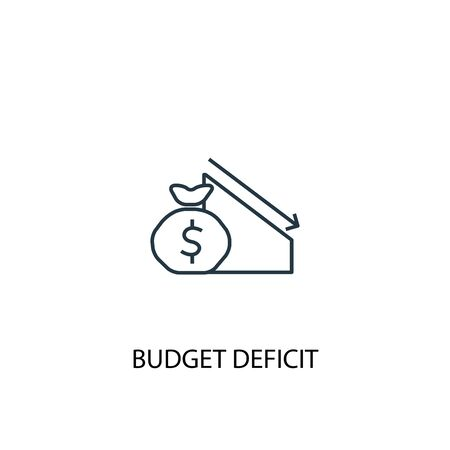 budget deficit concept line icon. Simple element illustration. budget deficit concept outline symbol design. Can be used for web and mobile