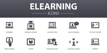 eLearning simple concept icons set. Contains such icons as Distance Learning, Online Training, Video training, Webinar and more, can be used for web, logo