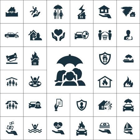 insurance icons universal set for web and UI  イラスト・ベクター素材