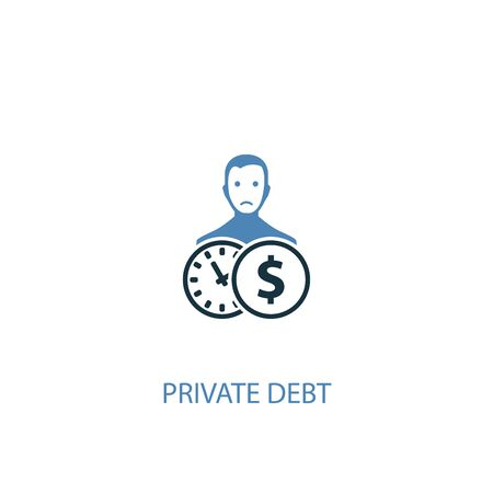 Private debt concept 2 colored icon. Simple blue element illustration. Private debt concept symbol design. Can be used for web and mobile