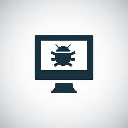 computer bug icon for web and UI on white background