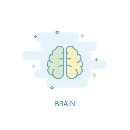 brain line concept. Simple line icon, colored illustration. brain symbol flat design