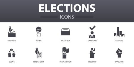 Elections simple concept icons set. Contains such icons as Voting, Ballot box, Candidate, Exit poll and more, can be used for web, logo