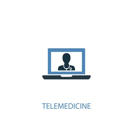 telemedicine concept 2 colored icon. Simple blue element illustration. telemedicine concept symbol design. Can be used for web and mobile