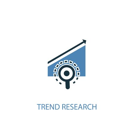 trend research concept 2 colored icon. Simple blue element illustration. trend research concept symbol design. Can be used for web and mobile Illustration