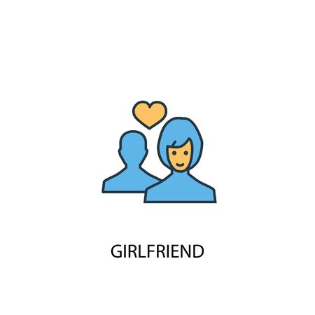 girlfriend concept 2 colored icon. Simple blue element illustration. girlfriend concept symbol design. Can be used for web and mobile