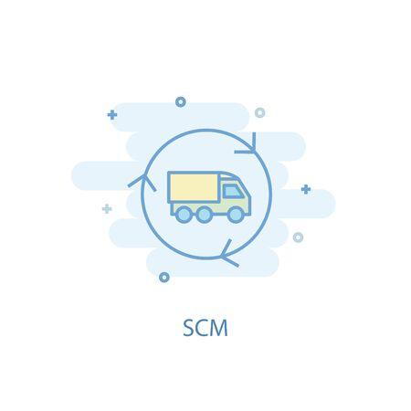 SCM line concept. Simple line icon, colored illustration. SCM symbol flat design. Can be used for Illustration