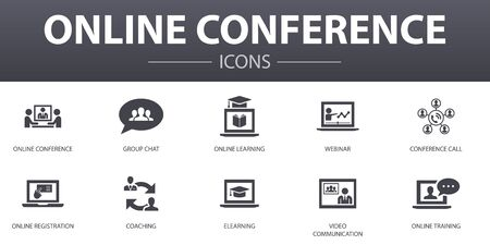 online conference simple concept icons set. Contains such icons as group chat, online learning, webinar, conference call and more, can be used for web, logo Ilustracja