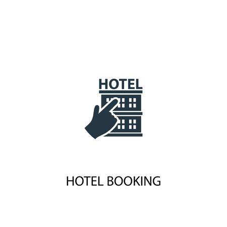 Symbol für die Hotelbuchung. Einfache Elementabbildung. Symboldesign für Hotelbuchungskonzept. Kann für Web verwendet werden