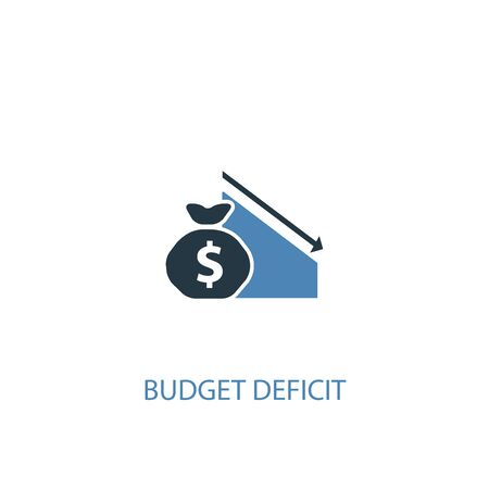 budget deficit concept 2 colored icon. Simple blue element illustration. budget deficit concept symbol design. Can be used for web and mobile