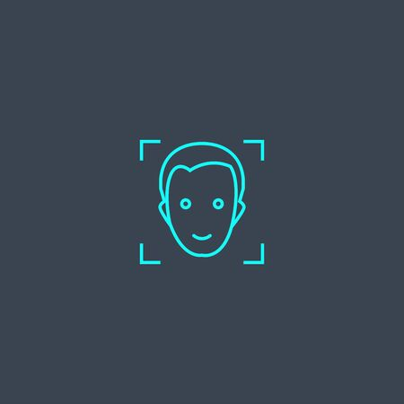 face detection concept blue line icon. Simple thin element on dark background. face detection concept outline symbol design. Can be used for web and mobile