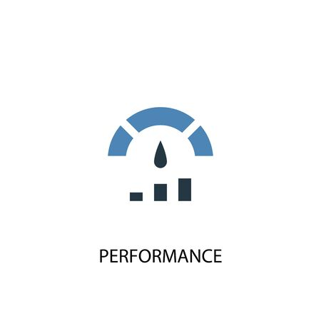 Performance concept 2 colored icon. Simple blue element illustration. Performance concept symbol design. Can be used for web and mobile 일러스트