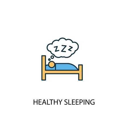 healthy sleeping concept 2 colored line icon. Simple yellow and blue element illustration. healthy sleeping concept outline symbol