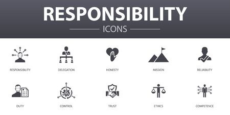 responsibility simple concept icons set. Contains such icons as delegation, honesty, reliability, trust and more, can be used for web, logo