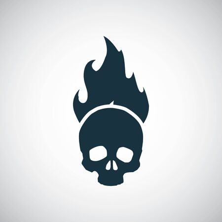 skull fire icon for web and UI on white background