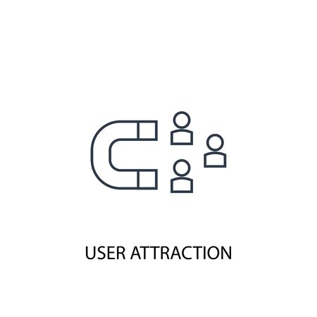 user attraction concept line icon. Simple element illustration. user attraction concept outline symbol design. Can be used for web and mobile