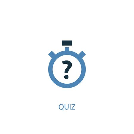 quiz concept 2 colored icon. Simple blue element illustration. quiz concept symbol design. Can be used for web and mobile