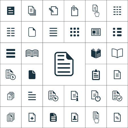 set di icone di documenti universali per web e interfaccia utente Vettoriali