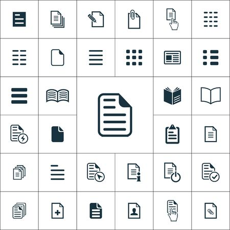 uniwersalny zestaw ikon dokumentów dla sieci i interfejsu użytkownika Ilustracje wektorowe