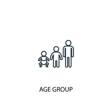 Age group concept line icon. Simple element illustration. Age group concept outline symbol design. Can be used for web and mobile  イラスト・ベクター素材