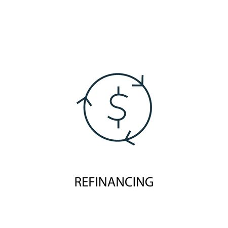 Refinancing concept line icon. Simple element illustration. Refinancing concept outline symbol design. Can be used for web and mobile