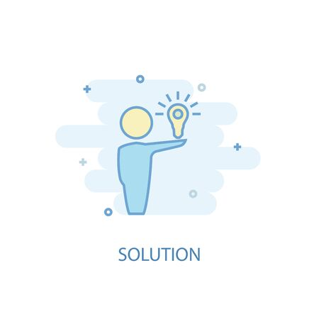 Solution line concept. Simple line icon, colored illustration. Solution symbol flat design. Can be used for