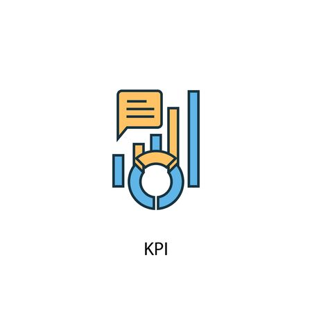 KPI concept 2 colored line icon. Simple yellow and blue element illustration. KPI concept outline design Иллюстрация