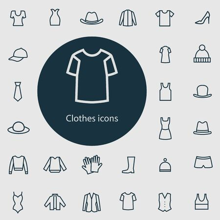 clothes outline, thin, flat, digital icon set 向量圖像
