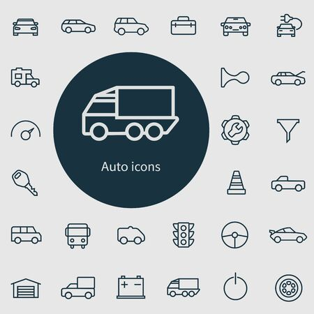 auto outline, thin, flat, digital icon set.