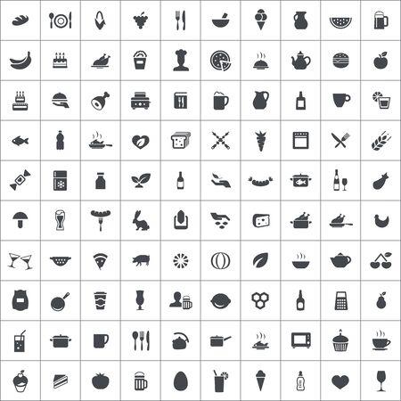food 100 icons universal set for web and UI Standard-Bild - 133749017