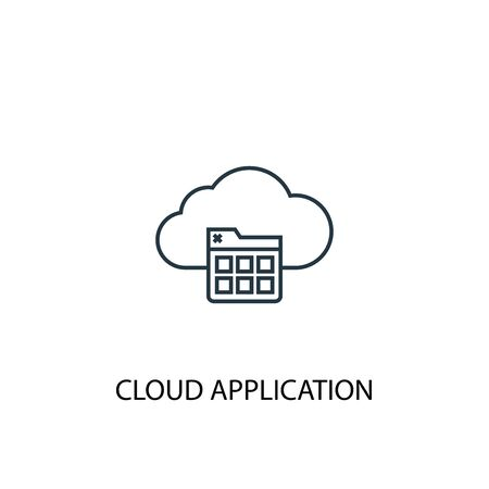 Cloud application concept line icon. Simple element illustration. Cloud application concept outline symbol design. Can be used for web and mobile 向量圖像