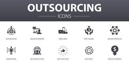 Outsourcing einfaches Konzept Icons Set. Enthält Symbole wie Online-Interview, Freiberufler, Geschäftsprozess, Outsourcing-Team und mehr, kann für Web, Logo verwendet werden