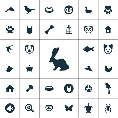 animals, pets icons universal set 向量圖像