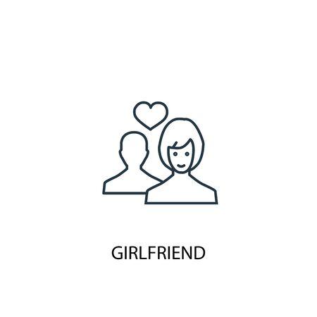 girlfriend concept line icon. Simple element illustration. girlfriend concept outline symbol design. Can be used for web and mobile Illusztráció