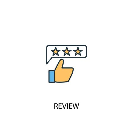 review concept 2 colored line icon. Simple yellow and blue element illustration. review concept outline design 向量圖像