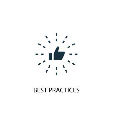 Icona delle migliori pratiche. Illustrazione semplice dell'elemento. Progettazione di simboli di concetto di buone pratiche. Può essere utilizzato per il web Vettoriali