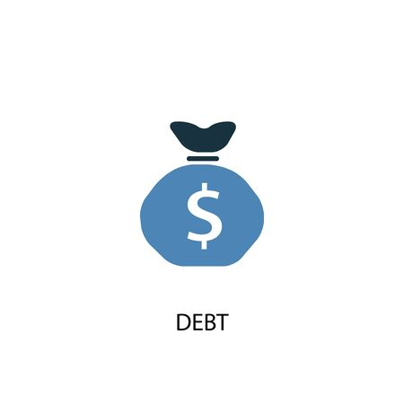 Debt concept 2 colored icon. Simple blue element illustration. Debt concept symbol design. Can be used for web and mobile Çizim