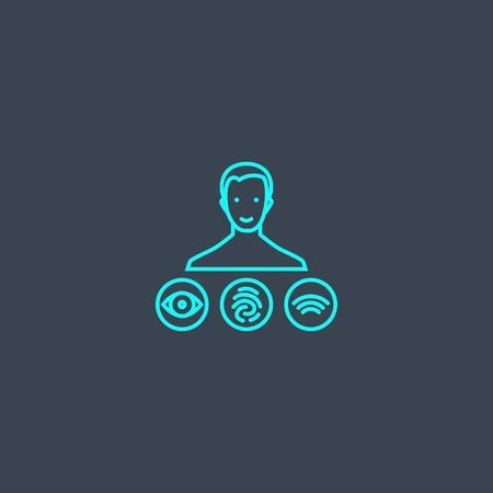 Biometrics authentication concept blue line icon. Simple thin element on dark background. Biometrics authentication concept outline symbol design. Can be used for web and mobile