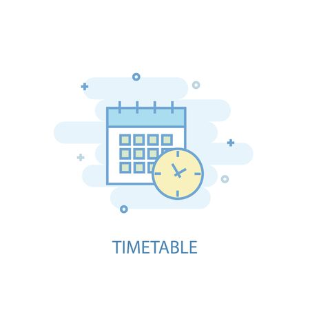 timetable line concept. Simple line icon, colored illustration. timetable symbol flat design. Can be used for